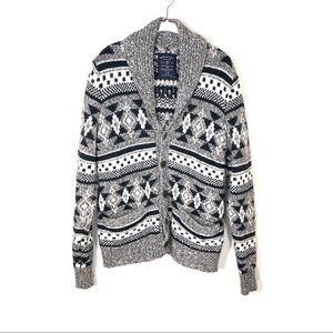 American Eagle sweater cardigan gray fair isle L